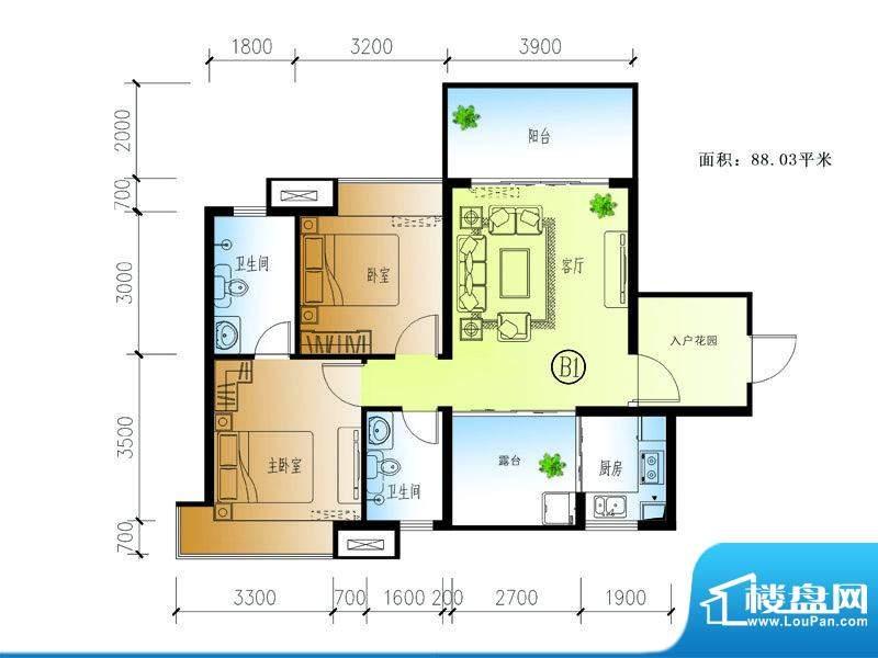 水晶绿岛B户型 2室1面积:88.03平米