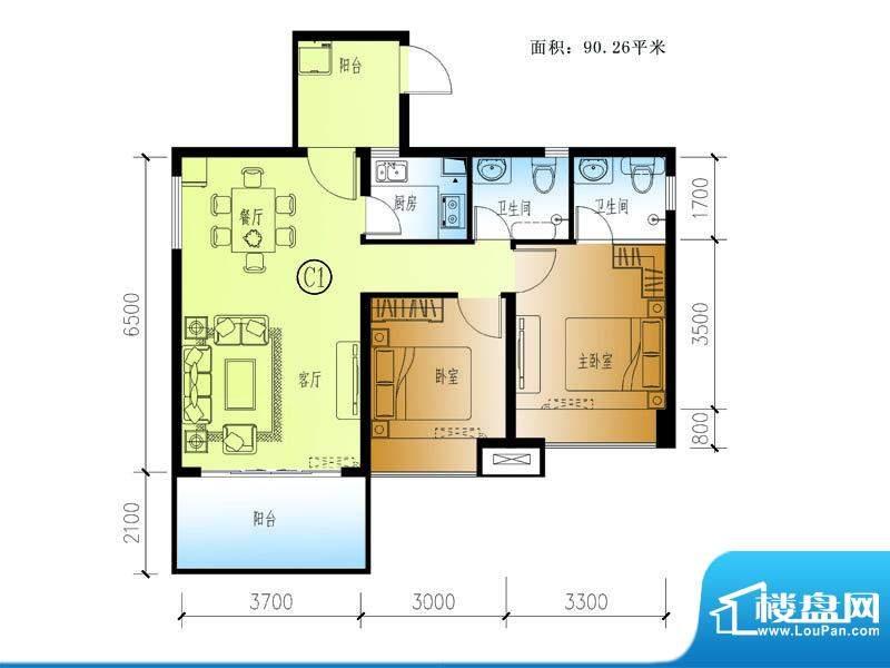 水晶绿岛C户型 2室2面积:90.26平米