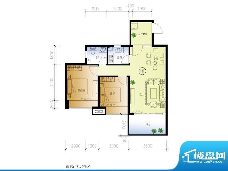 水晶绿岛D户型 2室2面积:81.50平米