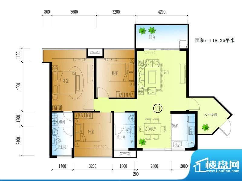 水晶绿岛E户型 3室2面积:118.26平米