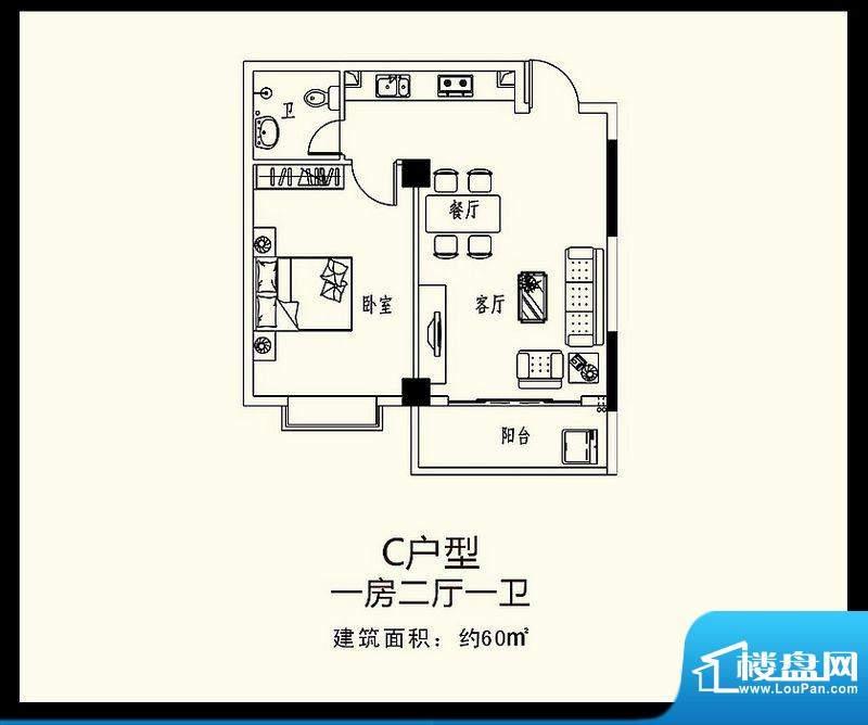 巨恒名都C户型 1室2面积:60.00平米