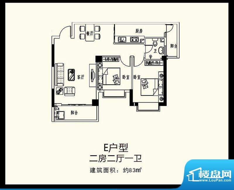 巨恒名都E户型 2室2面积:83.00平米