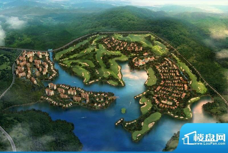 美岭湖鸟瞰外景图