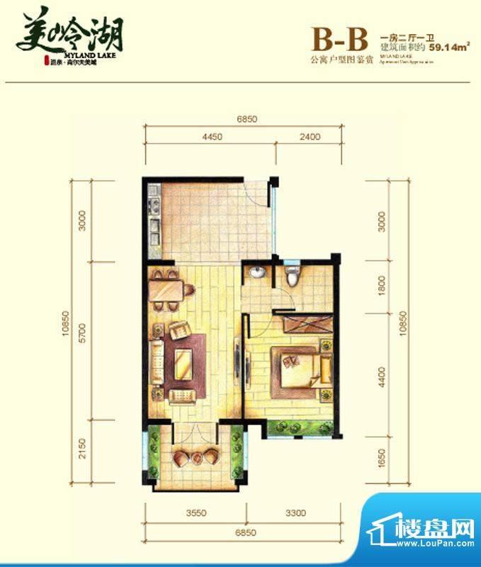 美岭湖B-B公寓户型图面积:59.14平米