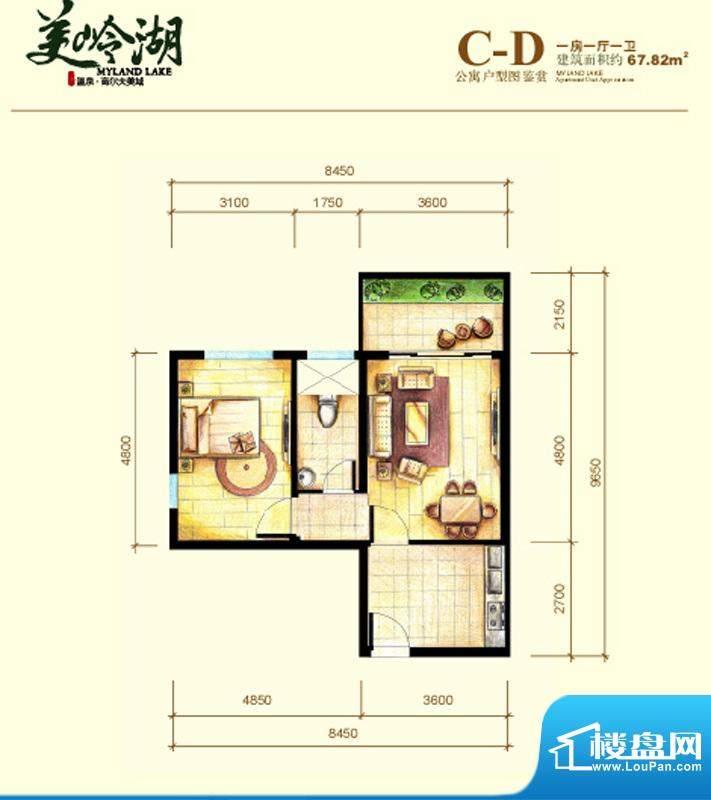 美岭湖C-D公寓户型图面积:67.82平米