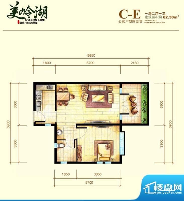 美岭湖C-E公寓户型图面积:62.30平米