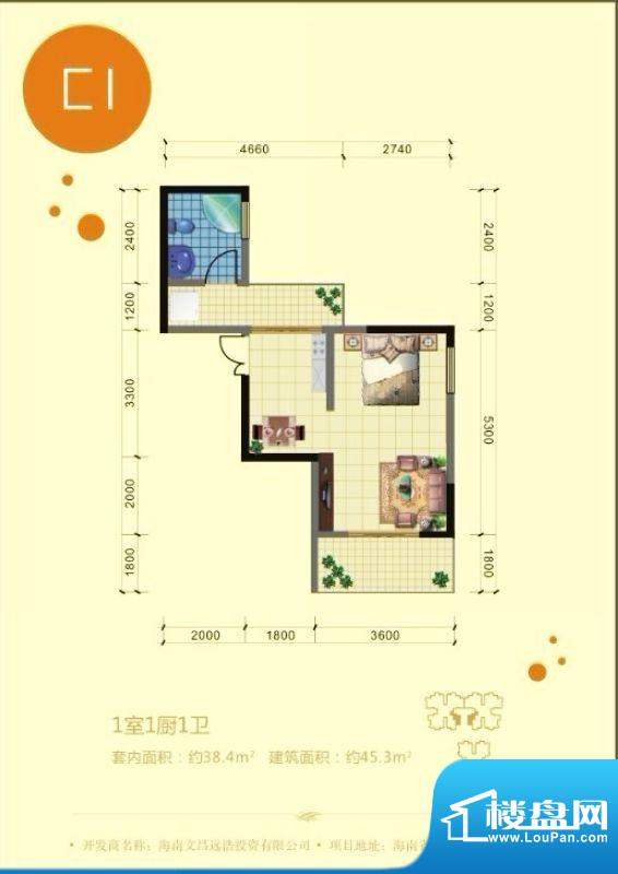 澜港壹号C2户型 1室面积:45.30平米