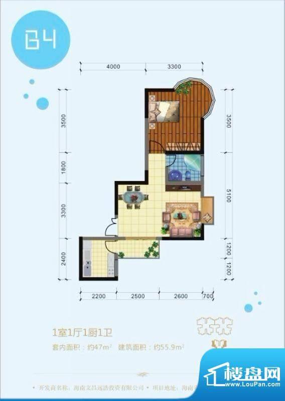 澜港壹号B4户型 1室面积:55.90平米
