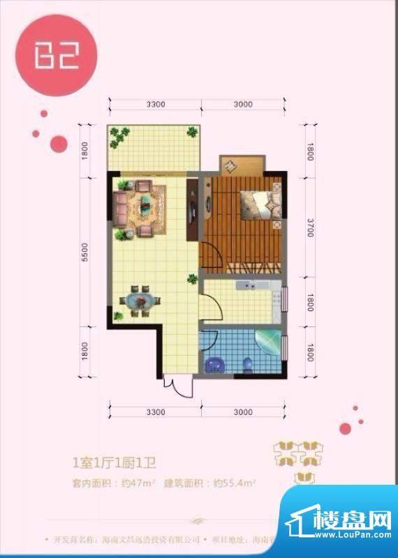 澜港壹号B2户型 1室面积:55.40平米