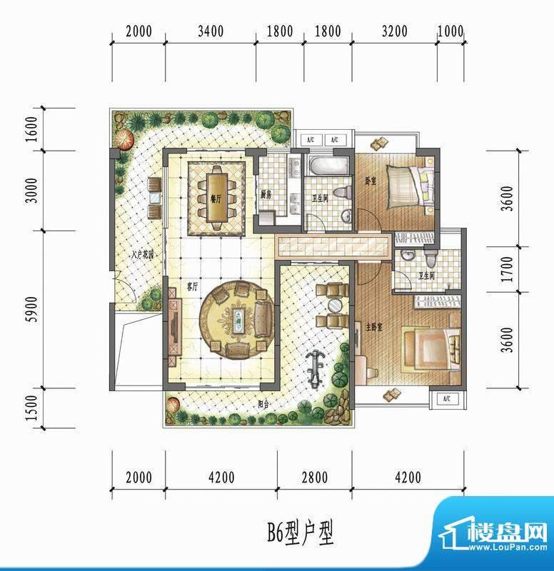 国瑞花园B6型户型 2面积:0.00平米
