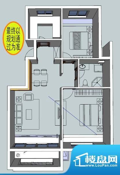 富有花园C1户型图 2面积:78.00平米