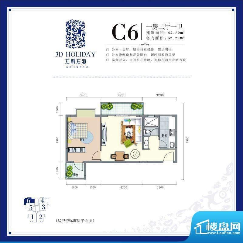 左城右海C6 1室2厅1面积:62.80平米