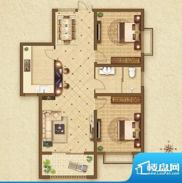 华乐家园b户型图 2室面积:89.89平米