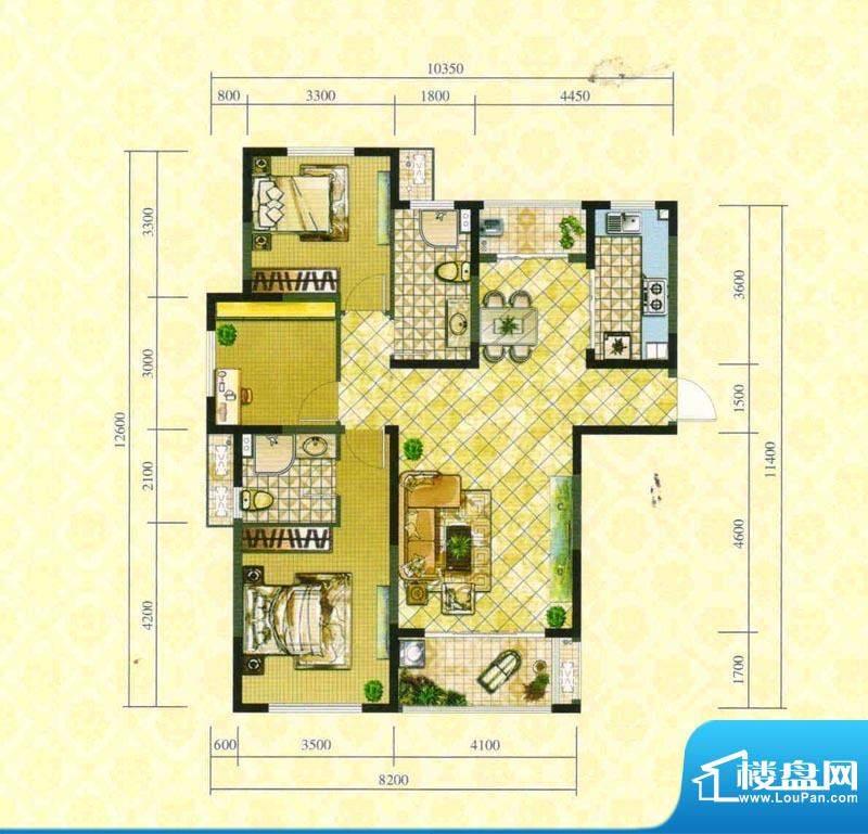 淮矿东方蓝海一期F户面积:128.00平米