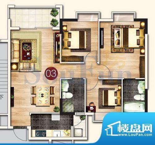 东港花园A6-03 3室2面积:97.57平米