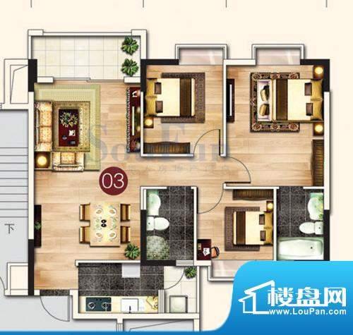 东港花园A4-03 2室2面积:97.34平米