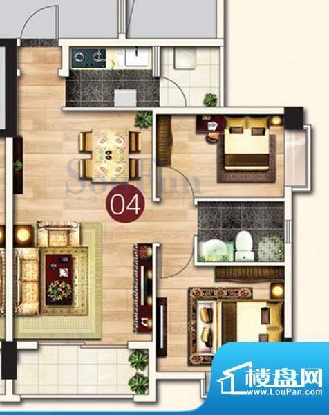 东港花园A4-04 3室2面积:74.56平米