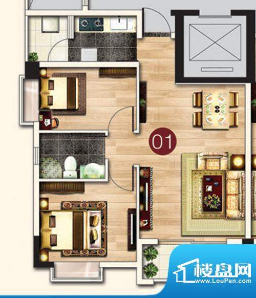东港花园A5-01 2室2面积:72.56平米