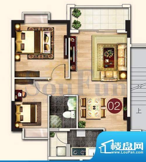 东港花园A5-02 2室2面积:72.72平米