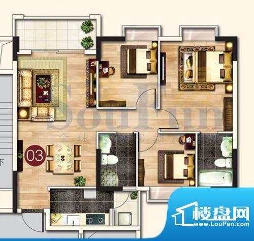 东港花园A5-03 3室2面积:97.34平米