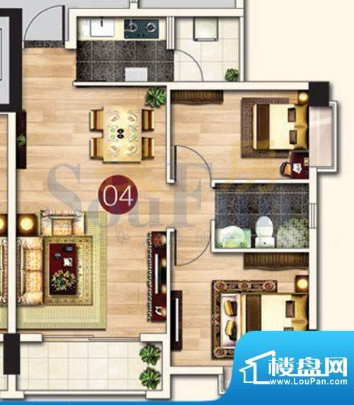 东港花园A5-04 2室2面积:74.47平米