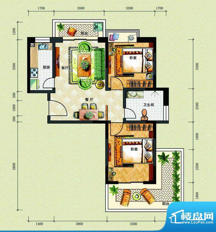 博鳌海威景苑A户型图面积:86.48平米
