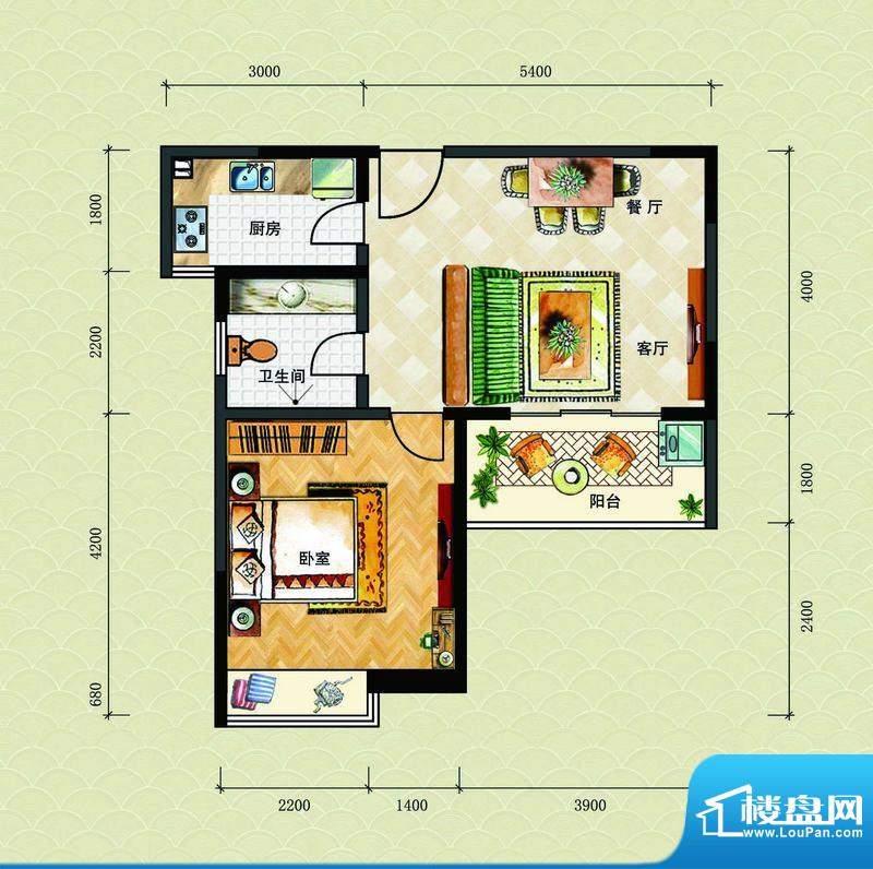 博鳌海威景苑B户型图面积:64.83平米