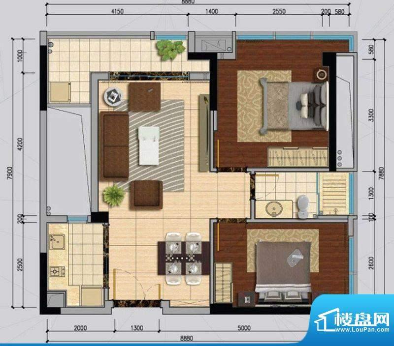 南沙城A户型 2室1厅面积:80.00平米