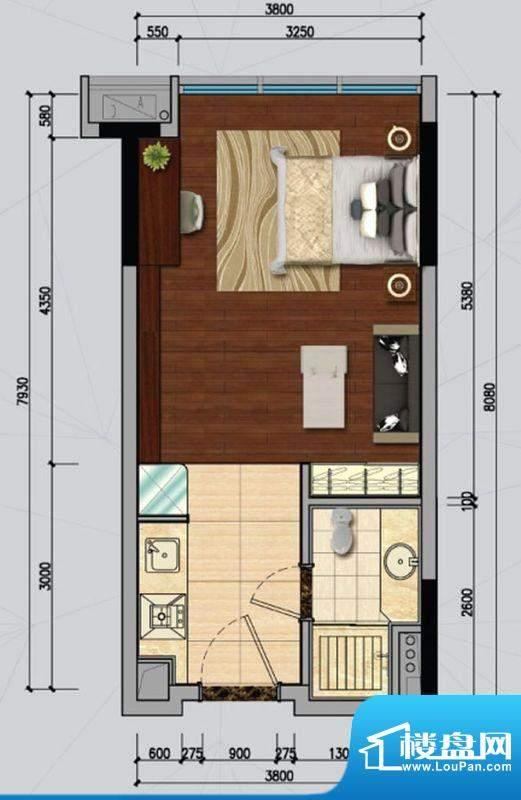 南沙城B户型 1室1厅面积:42.00平米