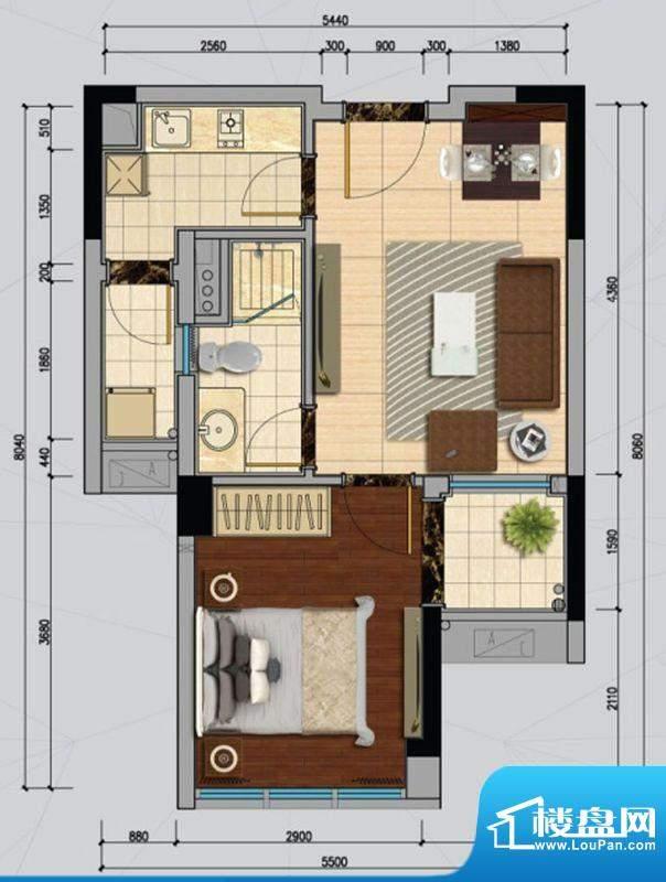 南沙城D户型 1室1厅面积:47.00平米