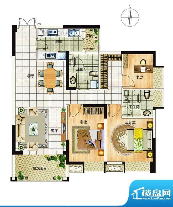 万象城户型4 3室2厅面积:113.00平米
