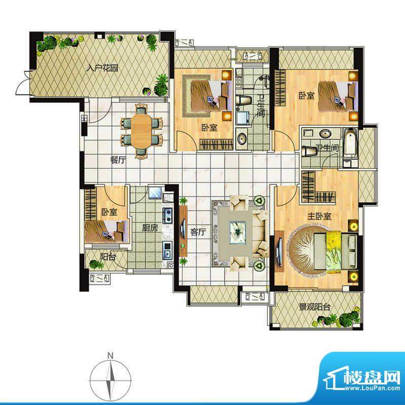 万象城户型5 4室2厅面积:163.00平米
