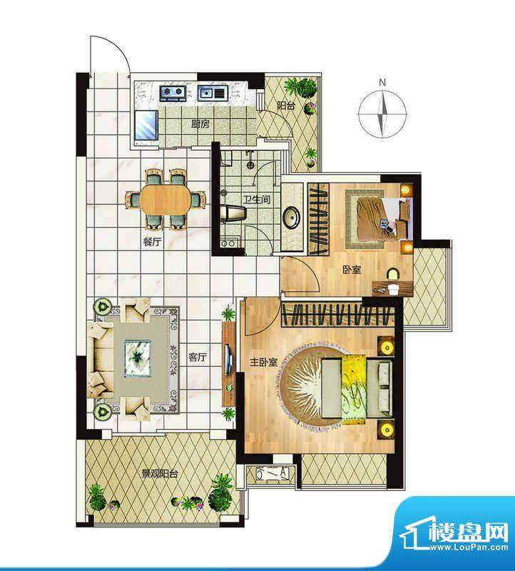 万象城户型7 2室2厅面积:89.00平米