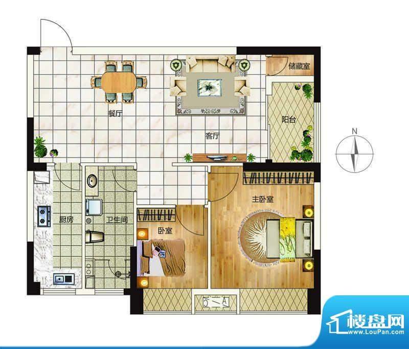 万象城户型9 2室2厅面积:83.00平米