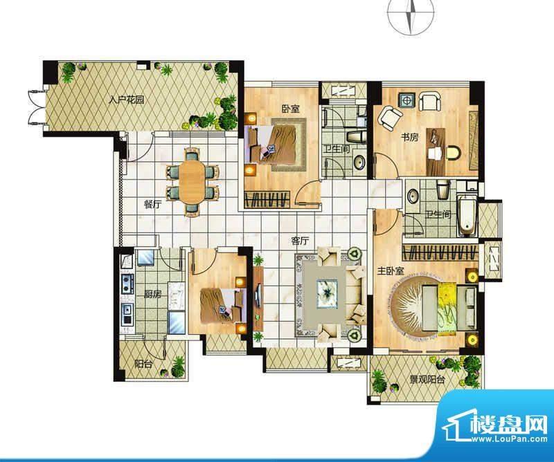 万象城户型1 4室2厅面积:148.00平米