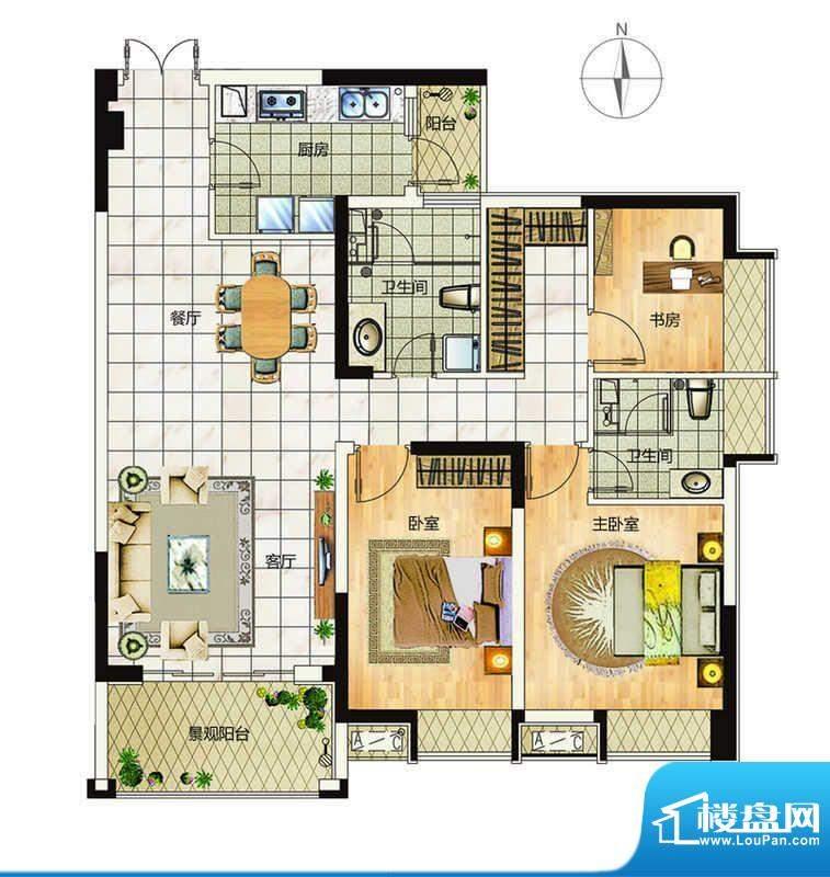 万象城户型3 3室2厅面积:116.00平米