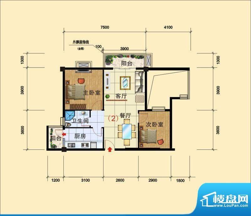 西广场12号户型B_~1面积:79.48平米