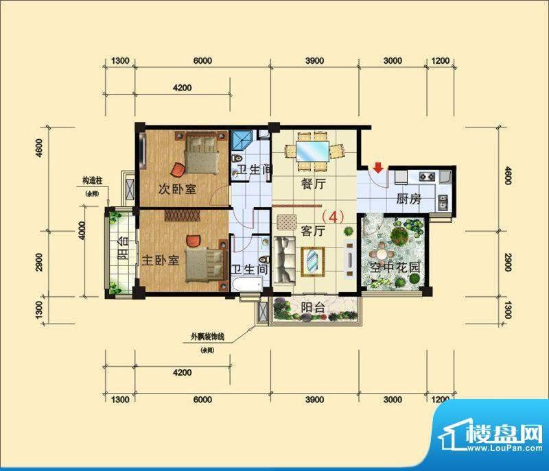 西广场12号户型D_~2面积:106.78平米