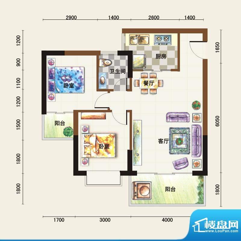 福临广场A户型 2室2面积:71.91平米