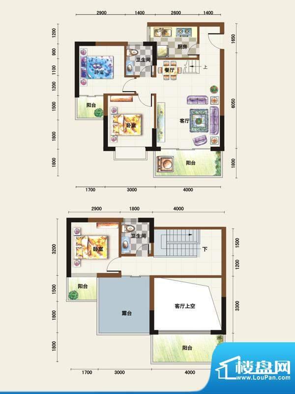 福临广场A1户型 3室面积:109.32平米