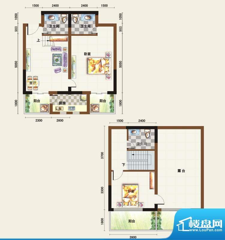 福临广场B1户型 2室面积:110.63平米