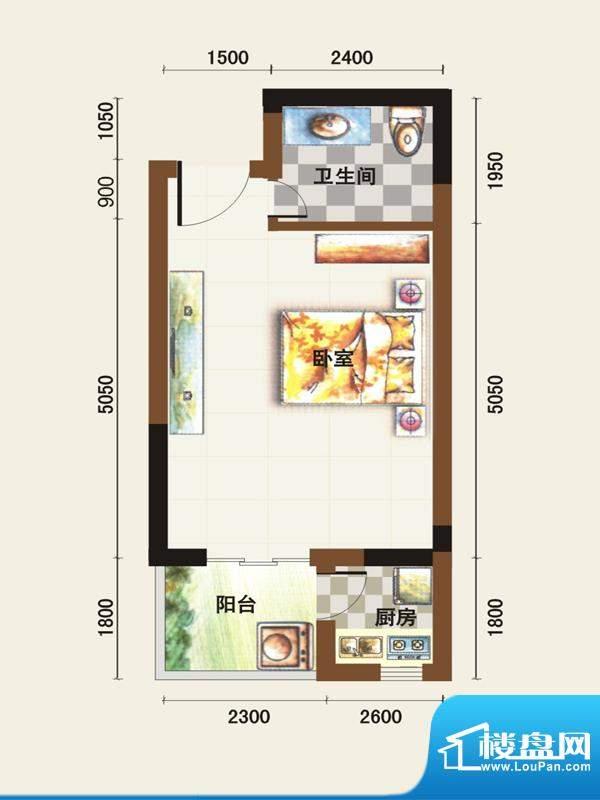 福临广场B户型 1室1面积:31.49平米