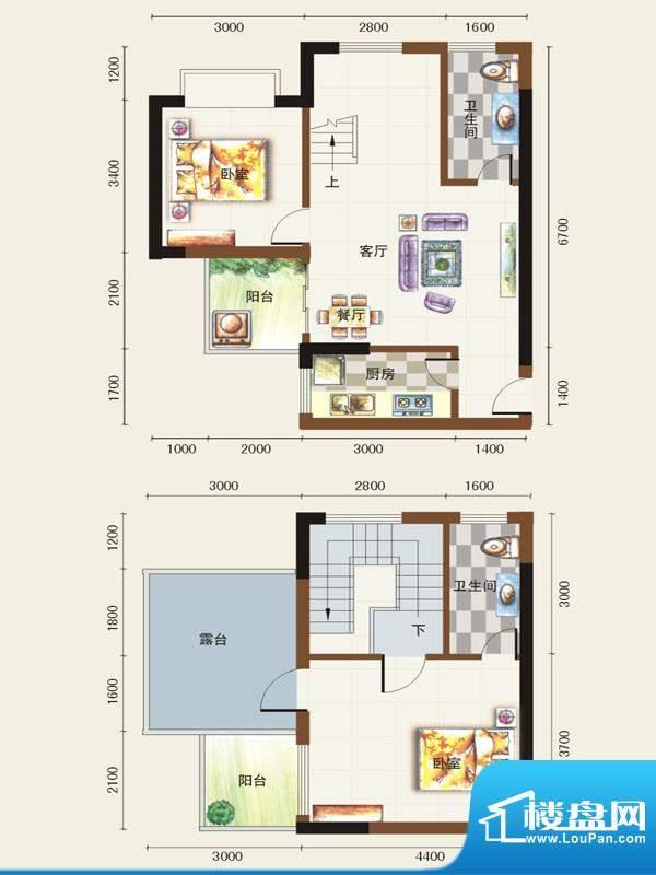 福临广场C1户型 2室面积:97.89平米