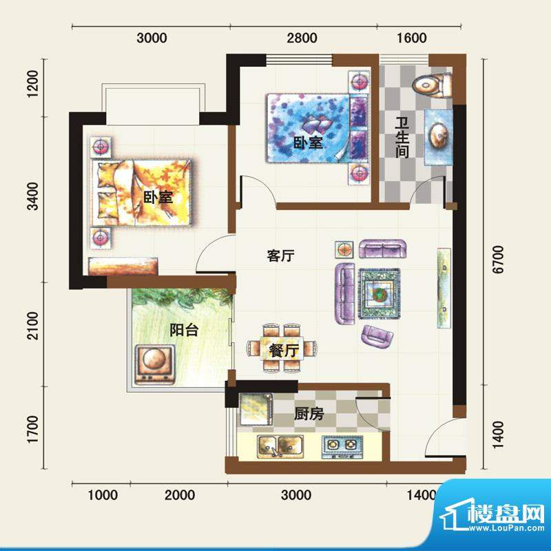 福临广场C户型 2室2面积:60.02平米