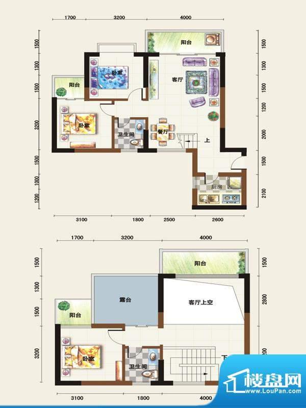 福临广场D1户型 3室面积:114.14平米