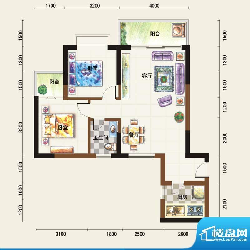 福临广场D户型 2室2面积:78.21平米
