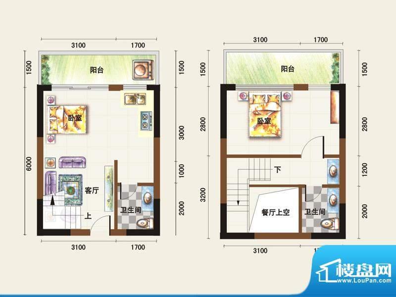 福临广场E1户型 2室面积:62.65平米