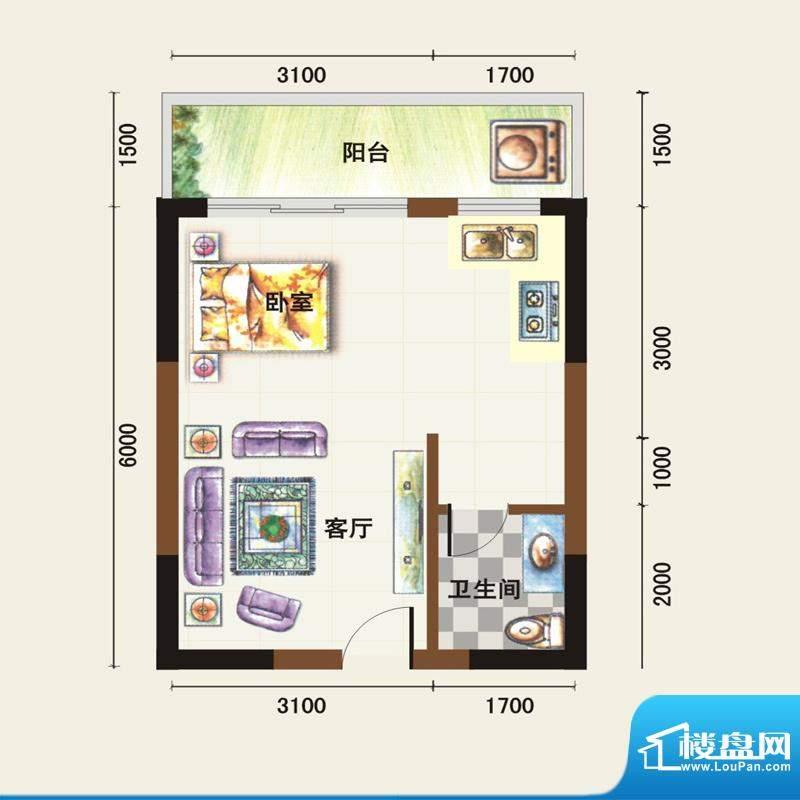 福临广场E户型 1室1面积:40.36平米
