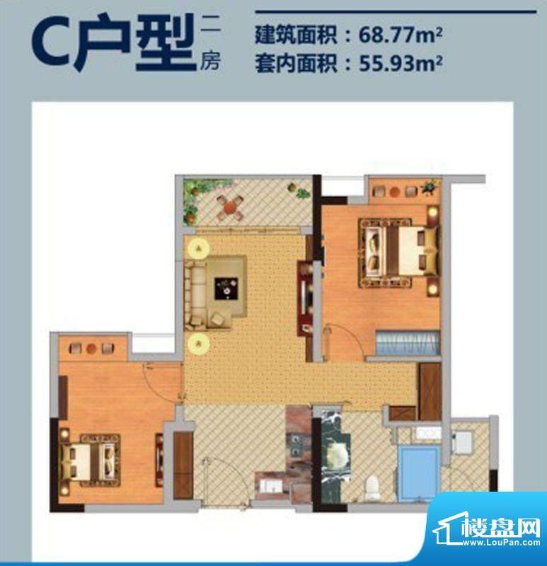 方圆E时光C户型 2室面积:68.77平米