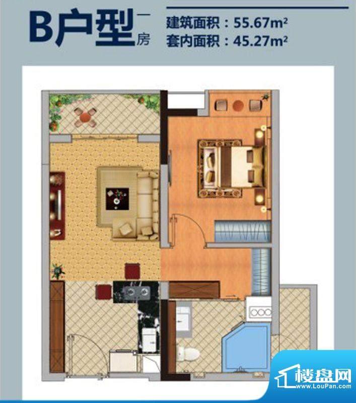 方圆E时光B户型 1室面积:55.67平米
